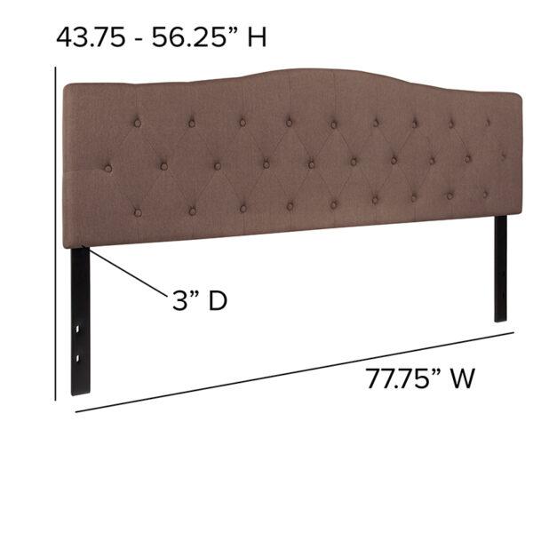 Contemporary Style King Headboard-Camel Fabric