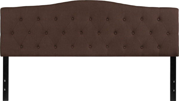 Lowest Price Cambridge Tufted Upholstered King Size Headboard in Dark Brown Fabric