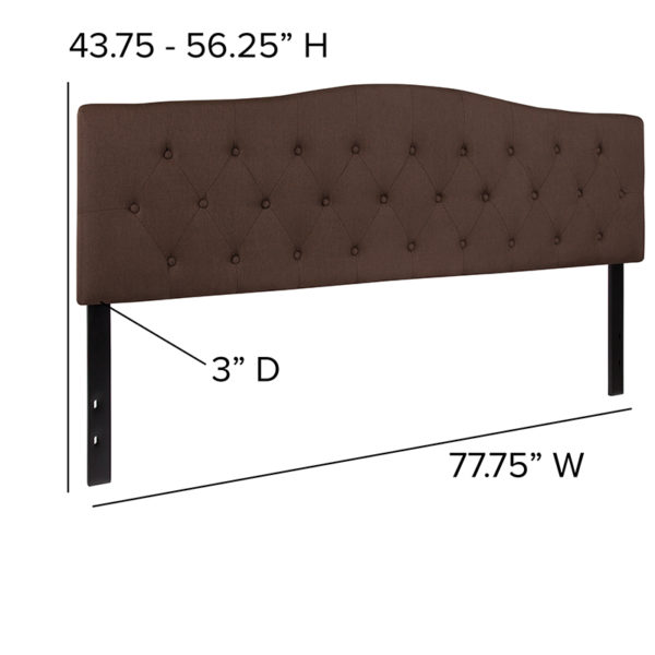 Contemporary Style King Headboard-Brown Fabric