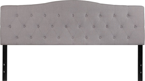 Lowest Price Cambridge Tufted Upholstered King Size Headboard in Light Gray Fabric