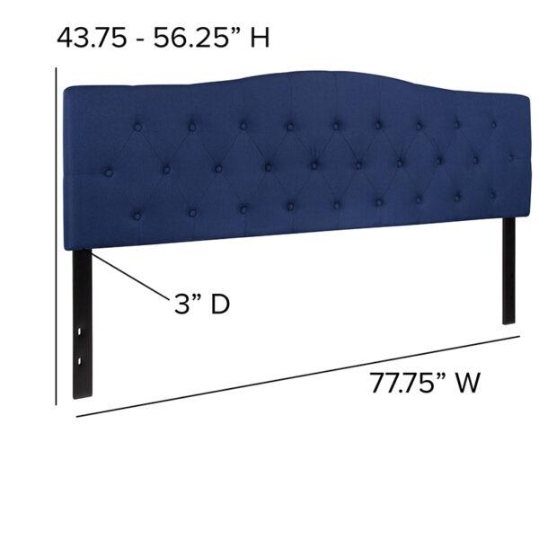 Contemporary Style King Headboard-Navy Fabric