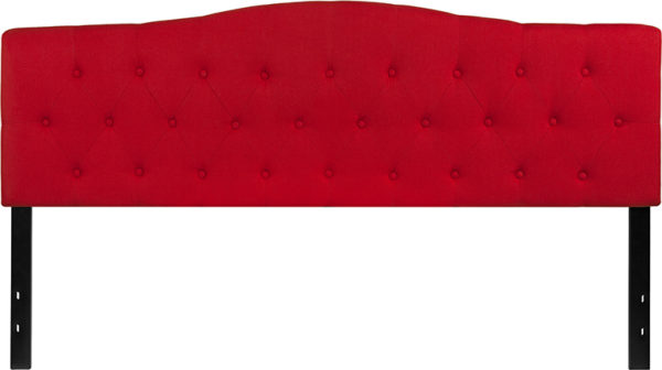 Lowest Price Cambridge Tufted Upholstered King Size Headboard in Red Fabric