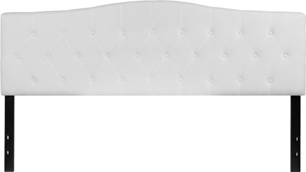 Lowest Price Cambridge Tufted Upholstered King Size Headboard in White Fabric