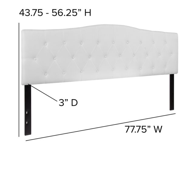 Contemporary Style King Headboard-White Fabric