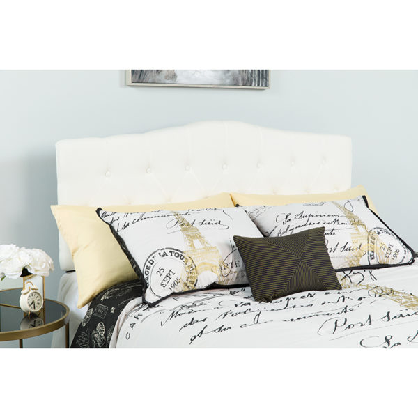 Wholesale Cambridge Tufted Upholstered King Size Headboard in White Fabric