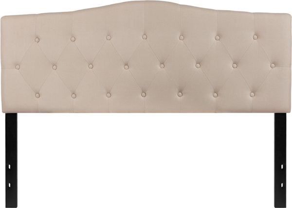 Lowest Price Cambridge Tufted Upholstered Queen Size Headboard in Beige Fabric