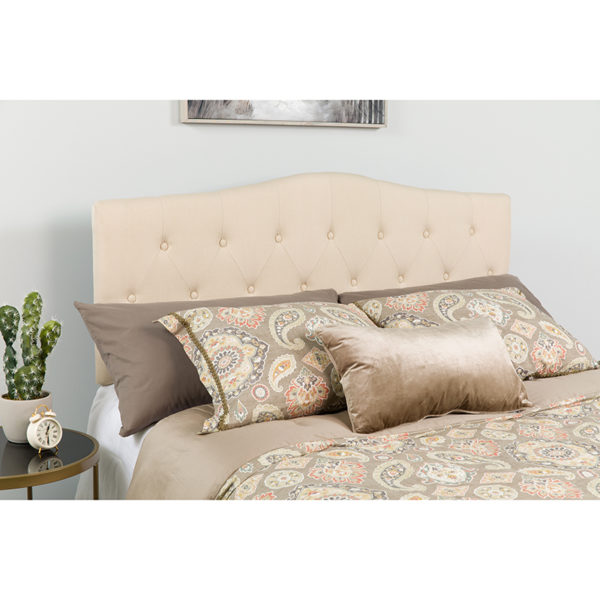 Wholesale Cambridge Tufted Upholstered Queen Size Headboard in Beige Fabric