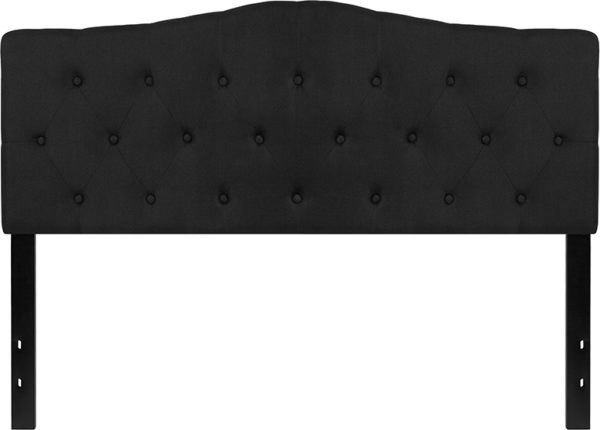 Lowest Price Cambridge Tufted Upholstered Queen Size Headboard in Black Fabric