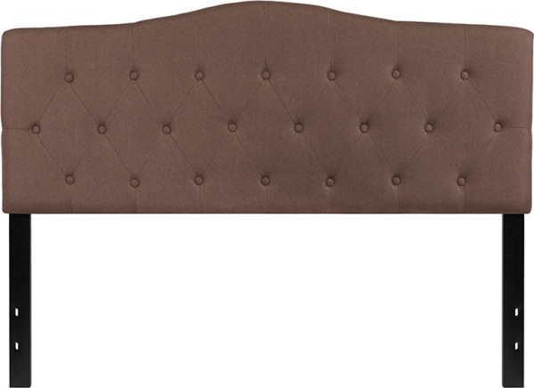 Lowest Price Cambridge Tufted Upholstered Queen Size Headboard in Camel Fabric