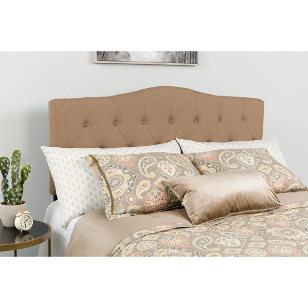 Wholesale Cambridge Tufted Upholstered Queen Size Headboard in Camel Fabric