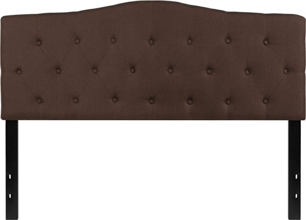 Lowest Price Cambridge Tufted Upholstered Queen Size Headboard in Dark Brown Fabric