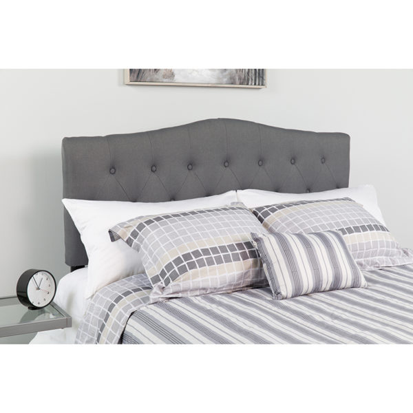 Wholesale Cambridge Tufted Upholstered Queen Size Headboard in Dark Gray Fabric
