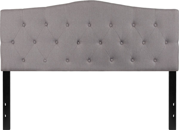 Lowest Price Cambridge Tufted Upholstered Queen Size Headboard in Light Gray Fabric