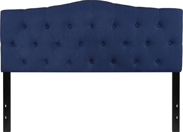 Lowest Price Cambridge Tufted Upholstered Queen Size Headboard in Navy Fabric
