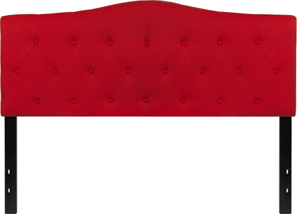 Lowest Price Cambridge Tufted Upholstered Queen Size Headboard in Red Fabric