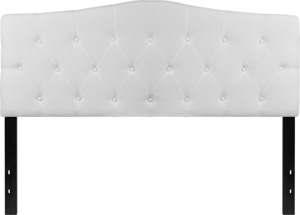 Lowest Price Cambridge Tufted Upholstered Queen Size Headboard in White Fabric
