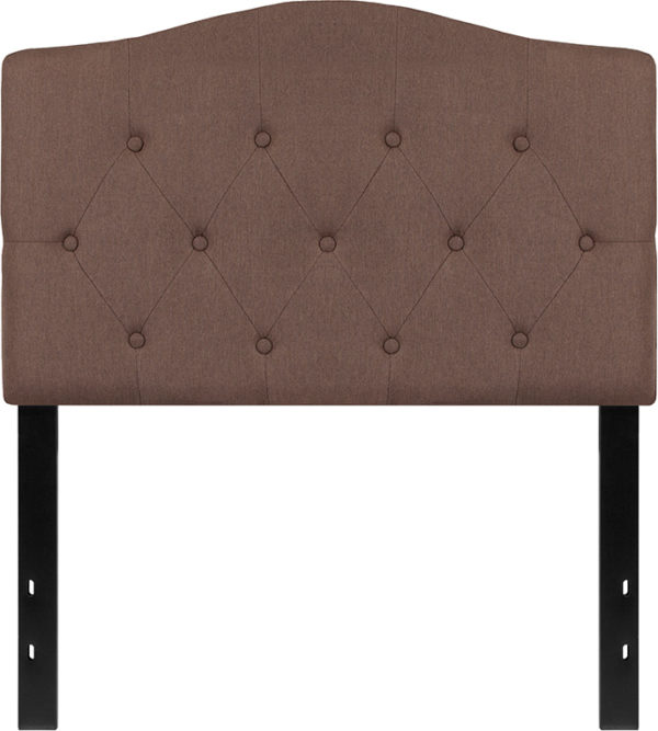 Lowest Price Cambridge Tufted Upholstered Twin Size Headboard in Camel Fabric