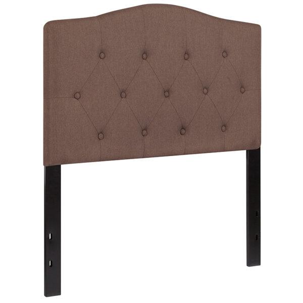 Contemporary Style Twin Headboard-Camel Fabric