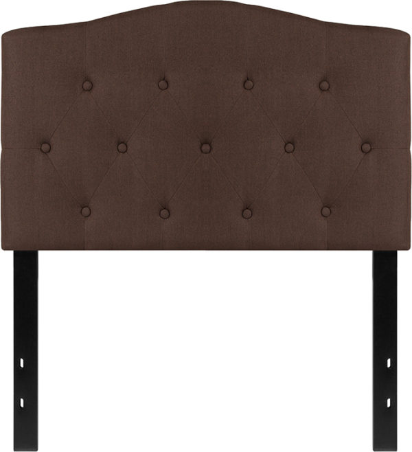 Lowest Price Cambridge Tufted Upholstered Twin Size Headboard in Dark Brown Fabric