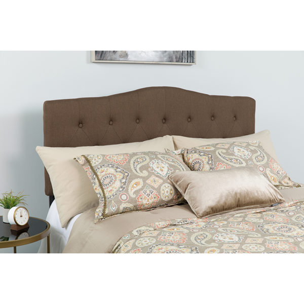 Wholesale Cambridge Tufted Upholstered Twin Size Headboard in Dark Brown Fabric