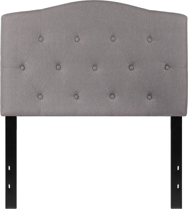 Lowest Price Cambridge Tufted Upholstered Twin Size Headboard in Light Gray Fabric