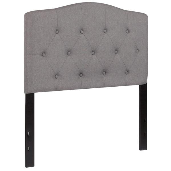Contemporary Style Twin Headboard-Gray Fabric