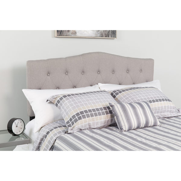 Wholesale Cambridge Tufted Upholstered Twin Size Headboard in Light Gray Fabric