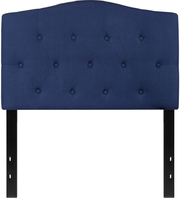 Lowest Price Cambridge Tufted Upholstered Twin Size Headboard in Navy Fabric