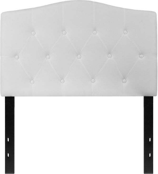Lowest Price Cambridge Tufted Upholstered Twin Size Headboard in White Fabric