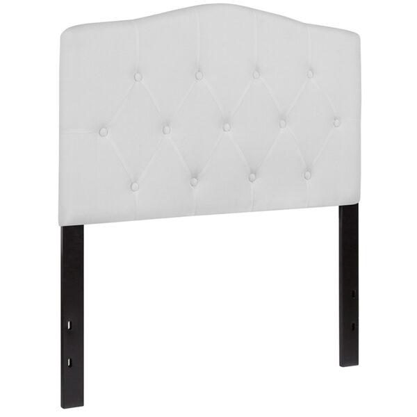 Contemporary Style Twin Headboard-White Fabric