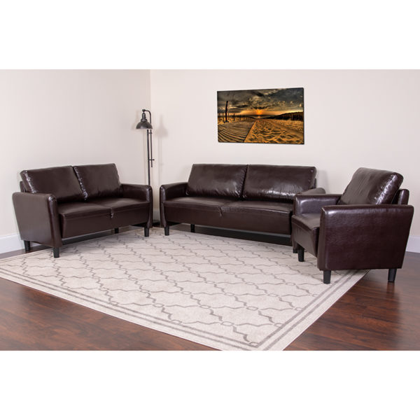 Lowest Price Candler Park 3 Piece Upholstered Set in Brown Leather