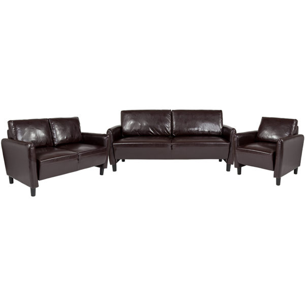 Wholesale Candler Park 3 Piece Upholstered Set in Brown Leather