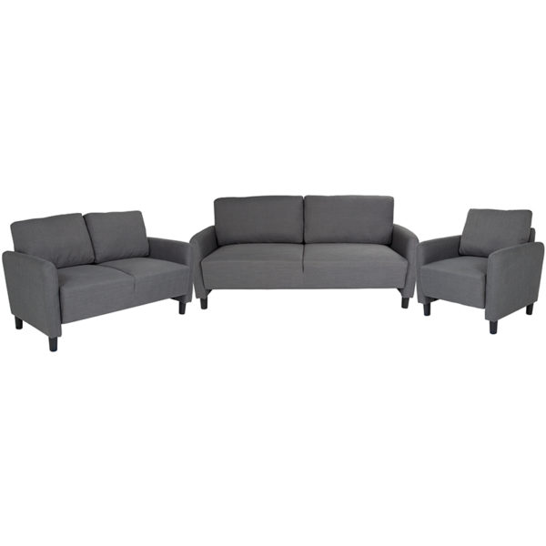 Wholesale Candler Park 3 Piece Upholstered Set in Dark Gray Fabric