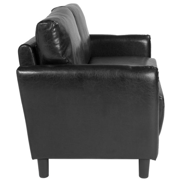 Lowest Price Candler Park Upholstered Loveseat in Black Leather