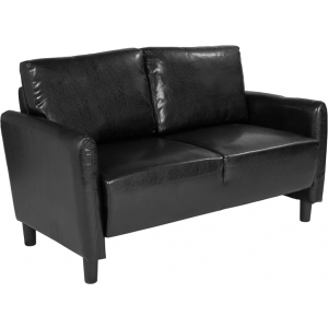 Wholesale Candler Park Upholstered Loveseat in Black Leather