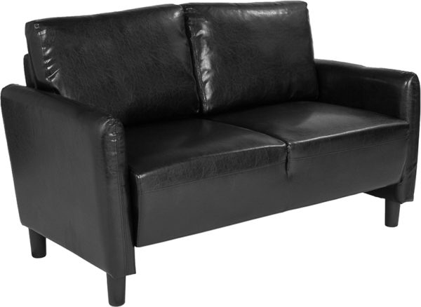 Wholesale Candler Park Upholstered Loveseat in Black Leather