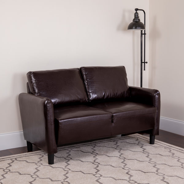 Lowest Price Candler Park Upholstered Loveseat in Brown Leather