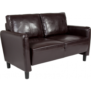 Wholesale Candler Park Upholstered Loveseat in Brown Leather
