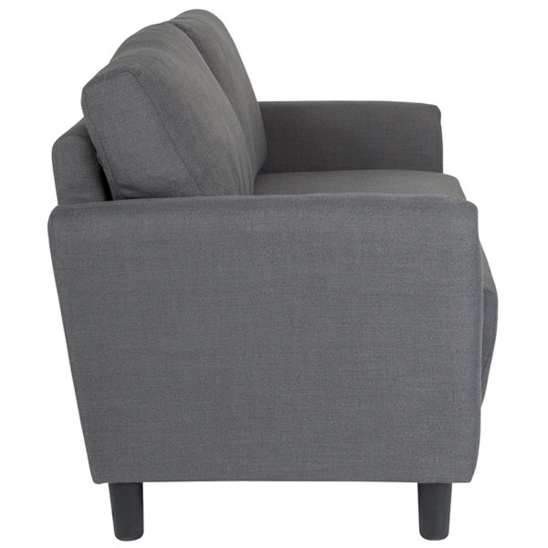 Lowest Price Candler Park Upholstered Loveseat in Dark Gray Fabric