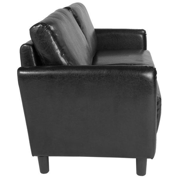 Lowest Price Candler Park Upholstered Sofa in Black Leather