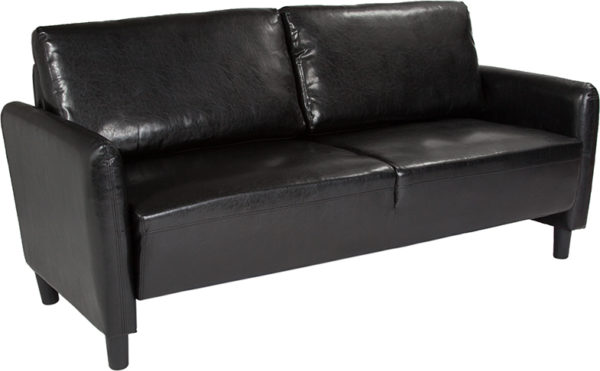 Wholesale Candler Park Upholstered Sofa in Black Leather