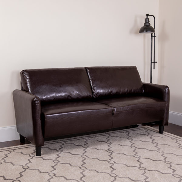 Lowest Price Candler Park Upholstered Sofa in Brown Leather