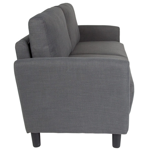 Lowest Price Candler Park Upholstered Sofa in Dark Gray Fabric