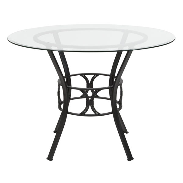 Lowest Price Carlisle 42'' Round Glass Dining Table with Black Metal Frame