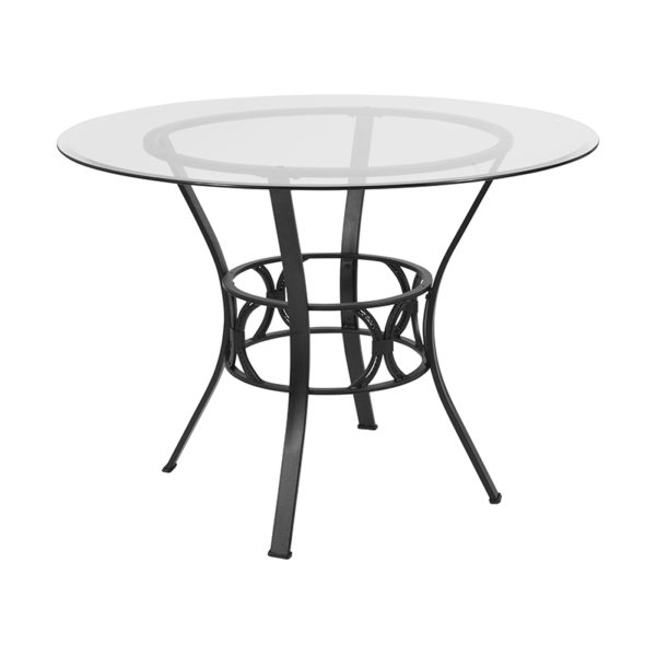 Wholesale Carlisle 42'' Round Glass Dining Table with Black Metal Frame