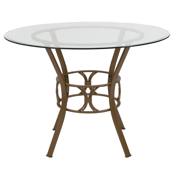 Lowest Price Carlisle 42'' Round Glass Dining Table with Matte Gold Metal Frame