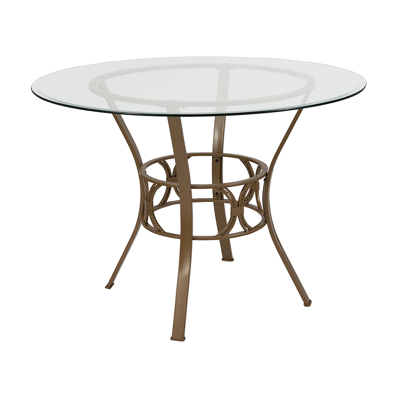 Wholesale Carlisle 42'' Round Glass Dining Table with Matte Gold Metal Frame
