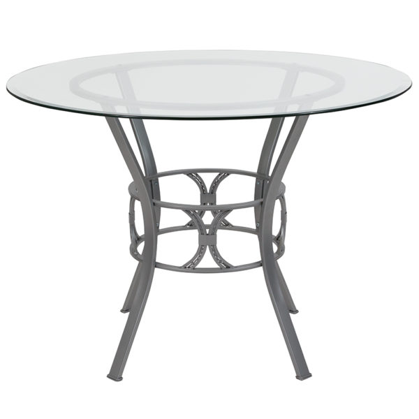 Lowest Price Carlisle 42'' Round Glass Dining Table with Silver Metal Frame