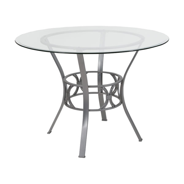 Wholesale Carlisle 42'' Round Glass Dining Table with Silver Metal Frame