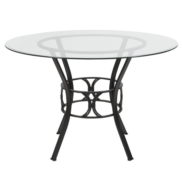 Lowest Price Carlisle 45'' Round Glass Dining Table with Black Metal Frame